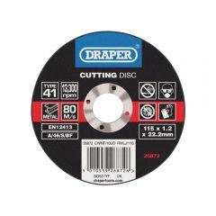 Draper 26872 Flat Metal Cutting Discs, 115 x 22.2 x 1.2mm (Pack of 100)