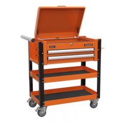 Sealey Heavy-Duty Mobile Tool & Parts Trolley 2 Drawers & Lockable Top - Orange